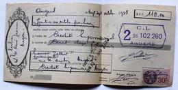 Lettre De Change 1938 Crédit Lyonais Angers Transport Tellier Rue Saint Aubin Timbre Fiscal 15c - Bills Of Exchange