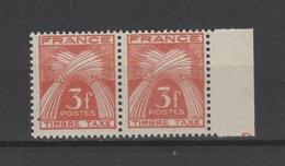 "FRANCE / 1946-1955 / Y&T TAXE N° 83 ** : Gerbes ""Timbre-Taxe"" 3F X 2 En Paire - Gomme D'origine Intacte - Taxes"