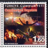 TURKEY, 2016, MNH, REPUBLIC DAY, FLAGS, TANKS, 1v - Stamps