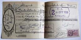 Lettre De Change 1938 Crédit Lyonais Angers Transport Tellier Rue Saint Aubin Timbre Fiscal 60c - Bills Of Exchange