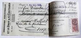 Lettre De Change 1938 Droguerie P. Diot E. Coutard 38 Rue Boisnet Angers Tellier Rue De La Madeleine Timbre Fiscal 15c - Bills Of Exchange