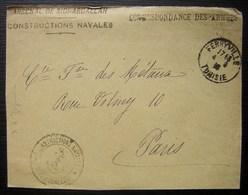 1916 Ferryville (Tunisie) Arsenal De Sidi Abdallah Constructions Navales, Correspondance Des Armées (devant De Lettre) - Marcophilie (Lettres)