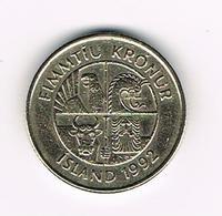 &  IJSLAND  50 KRONUR 1992 - Islande