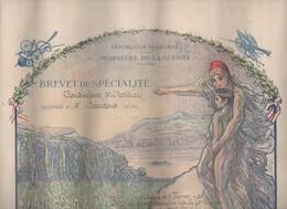 Auch (32 Gers)  Diplome Illustré En Couleurs De CONDUCTEUR D'ARTILLERIE  1920 - Documents