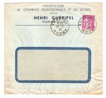 LETTRE 19 FÉVRIER 1940 HENRI GUÉRIPEL THURINS - MANUFACTURE DE VÊTEMENTS PROFESSIONNELS ET SPORTS - PAIX 369 - Postmark Collection (Covers)