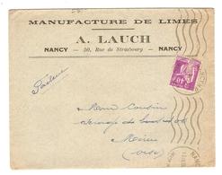 LETTRE 13 SEPTEMBRE 1935 - MANUFACTURE DE LIMES A. LAUCH NANCY → MÉRU OISE (60) - PAIX 281 - Postmark Collection (Covers)
