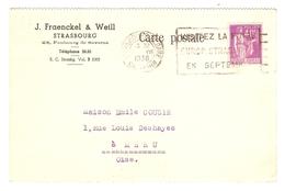 CARTE 2 JUILLET 1936 FRAENCKEL & WEILL STRASBOURG - MÉRU OISE (60) - PAIX 281 - Postmark Collection (Covers)