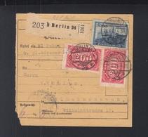 Dt. Reich Paketkarte 1923 Berlin Nach Wilhelmshaven - Deutschland
