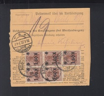 Dt. Reich Paketkarte 1922 Augsburg Nach Frankfurt - Deutschland