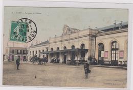 Cpa Colorisée CAEN La Gare De L'ouest-animée-enfant-affiches - Caen