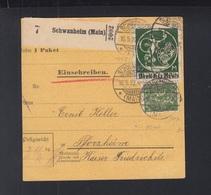 Dt. Reich Paketkarte 1922 Schwanheim Main Nach Pforzheim - Deutschland
