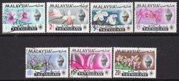Malaysia Trengganu 1965 Orchids Definitives Set Of 7, Used, SG 100/6 - Malaysia (1964-...)