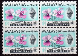 Malaysia Trengganu 1965 Orchids 1c Value Block Of 4, 'Caterpillar Flaw', (top Left), MNH, SG 100 - Malaysia (1964-...)