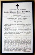 MEMORANDUM  SOUVENIR LOUIS EDMONT RENE PICARD  FAIRE PART DECES - Obituary Notices