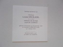Bidprentje: Louisa VAN BLADEL Wed.Jozef DE CONINCK, Antwerpen 28/12/1925 - Malle 7/10/2009 - Obituary Notices