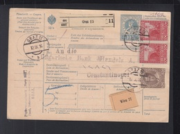 Österreich Paketkarte 1916 Graz Nach Constantinopel - Briefe U. Dokumente