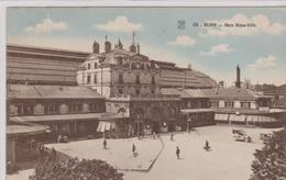 Cpa Colorisée- DIJON Gare Dijon-ville-animée-voitures Anciennes - Dijon