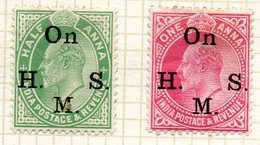 GRANDE-BRETAGNE - INDE ANGLAISE - (Empire) - 1907 - Service - N° 52 Et 53 - (Surcharge : On H. M. S.) - (Edouard VII) - Inde (...-1947)