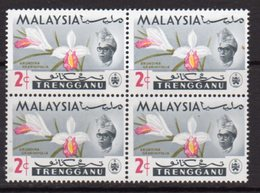 Malaysia Trengganu 1965 Orchids 2c Value Block Of 4, 'missing Dots In Jawi Character', (top Left), MNH, SG 101 - Malaysia (1964-...)