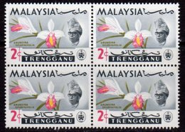 Malaysia Trengganu 1965 Orchids 2c Value Block Of 4, 'short Collar On Sultan', (bottom Right), MNH, SG 101 - Malaysia (1964-...)