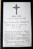MEMORANDUM  SOUVENIR JEAN JOSEPH AIME BABOUIN  FAIRE PART DECES - Décès