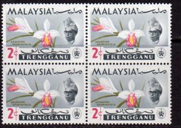 Malaysia Trengganu 1965 Orchids 2c Value Block Of 4, 'olive Printing Shifted To Right', (top Right), MNH, SG 101 - Malaysia (1964-...)