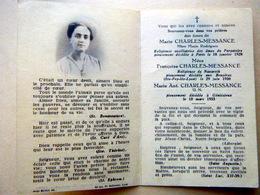 MEMORANDUM  SOUVENIR FAMILLE  CHARLES MESSANGE MERE MARIE RODRIGUEZ RELIGIEUSE   FAIRE PART DECES - Obituary Notices