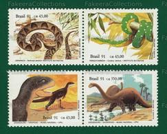 BRAZIL 1991 - PREHISTORIC ANIMALS 4v MNH ** - Brazilian Snakes, Dinosaurs, Museum - As Scan - Prehistorics