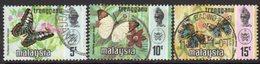 Malaysia Trengganu 1977-8 Butterflies Set Of 3, Gravure Harrison, Used, SG 116a/7a - Malaysia (1964-...)