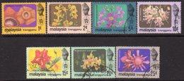 Malaysia Trengganu 1979 Flowers Set Of 7, With Watermark, Used, SG 118/24 - Malaysia (1964-...)