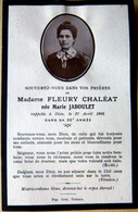 MEMORANDUM  SOUVENIR MADAME FLEURY CHALEAT NEE MARIE JABOULET   FAIRE PART DECES - Décès