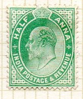 GRANDE-BRETAGNE - INDE ANGLAISE - (Empire) - 1902-09 - N° 58 - 1/2 A. Vert-jaune - (Edouard VII) - Inde (...-1947)