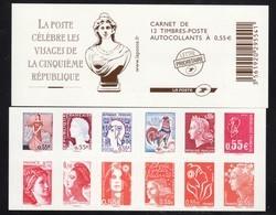FRANCE CARNET 1518 AUTOCOLLANTS LES VISAGES DE LA 5ème REPUBLIQUE VOIR SCAN RECTO/VERSO - France