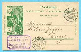 Postkarte Von Gletsch Nach Vevey 1900 - Absender: Hotel Du Glacier Du Rhon - Entiers Postaux