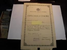 MINISTERO DELLA GUERRA  --- DIPLOMA D'ONORE -- DIVISIONE ITALIANA PARTIGIANA GARIBALDI - Documenti