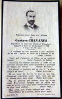 MEMORANDUM  SOUVENIR GUSTAVE CHAVANES INGENIEUR FAIRE PART DECES - Décès