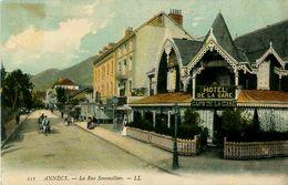 Cpa ANNECY 74 La Rue Sommellier ( Sommeiller ) Hôtel Café De La Gare - Annecy