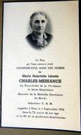 MEMORANDUM  SOUVENIR  MARIE HENRIETTE LEONIE CHARLES MESSANGE TIERS ORDRE DE LA PENITENCE FAIRE PART DECES - Décès