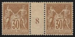 N°80 Paire Millésime 8, Sage 30c Brun-jaune, Type II Neuf **/* - TB - 1876-1898 Sage (Type II)