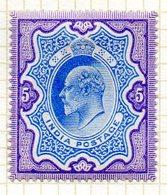 GRANDE-BRETAGNE - INDE ANGLAISE - (Empire) - 1902-09 - N° 70 - 5 R. Violet Et Bleu - (Edouard VII) - Inde (...-1947)