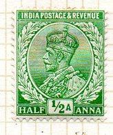 GRANDE-BRETAGNE - INDE ANGLAISE - (Empire) - 1911-26 - N° 76 - 1/2 A.. Vert-jaune - (George V) - Inde (...-1947)