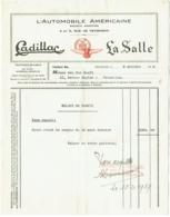 Facture. Cadillac - La Salle. Automobile Américaine, Rue De Tenbosch à Bruxelles. 1929. - Bélgica