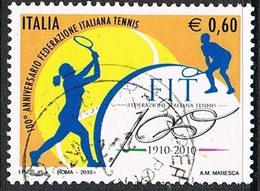2010 - ITALIA / ITALY - CENTENARIO DELLA FEDERAZIONE ITALIANA TENNIS / CENTENARY OF THE ITALIAN TENNIS FEDERATION. USATO - 6. 1946-.. Repubblica
