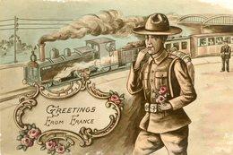 LOT De 8 Cartes En Rapport Avec Les Chemins De Fer Train Voiture Wagon Gare Soldat Enfant Locomotive Valise - Postcards
