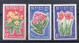 Cambodia 1961 YT 104/6 Flowers, Flora, Fleurs Set MNH - Cambodia