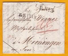 1813 - Règne De Napoléon 1er - Lac De 2 Pages De Reims (marque) Vers Meiningen, Saxe, Allemagne - R N°3 - Postmark Collection (Covers)