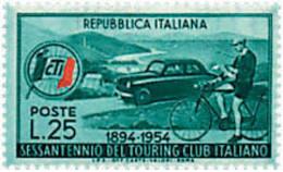 Ref. 55319 * NEW *  - ITALY . 1954. 60th ANNIVERSARY OF THE ITALIAN TOURING CLUB. 60 ANIVERSARIO DEL TOURING CLUB ITALIA - 1946-60: Nuevos