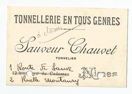 Carte De Visite - Nimes Tonnellerie Sauveur Chauvet 30 Gard - Visiting Cards