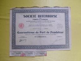 Action -  Quarantième De Part De Fondateur Société Biterroise De Force Et Lumière à Paris - Electricité & Gaz