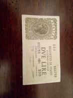 Biglietto Di Stato A Corso Legale  2 Lire - [ 1] …-1946 : Koninkrijk